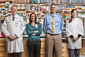 UVA's LGL research team (l to r): Dr. Tom Loughran, Holly Davis (clinical research coordinator), Dave Feith, PhD, and Kristine Olson, PhD.